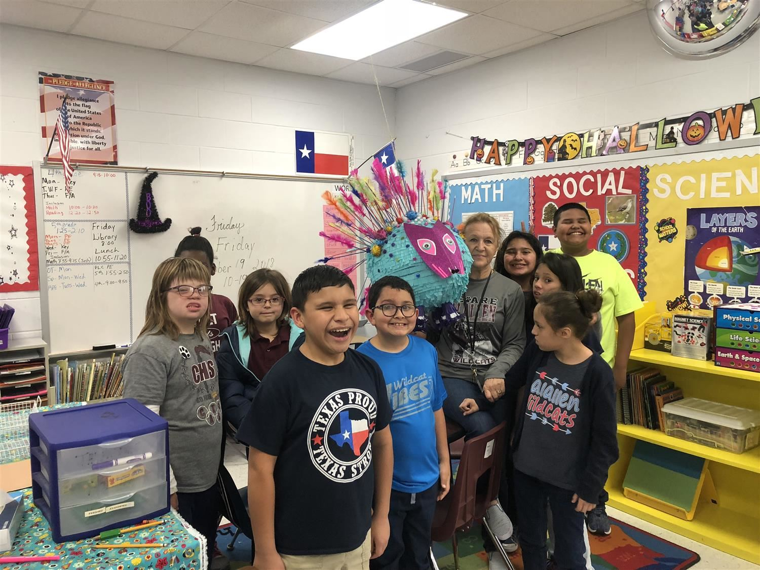 Mrs. Brown's Adaptive Education Class created a pinata that was entered into a contest at the K Space Art Contemporary Gallery
