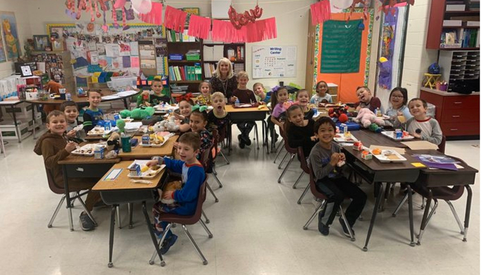 Mrs. Martin's class PJ & Pancakes with the Principal