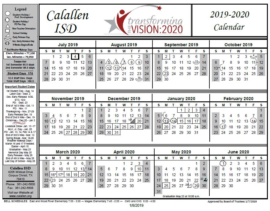 December Calendar 2020.School Year Calendar School Year Calendar 2019 2020