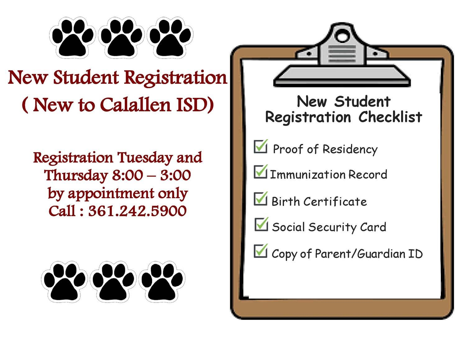 New Student Registration (New to Calallen ISD)